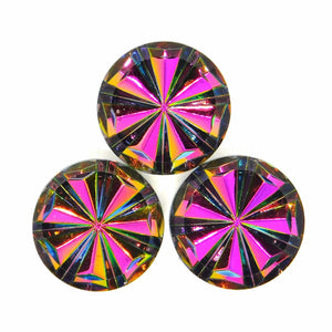 9mm or 18mm Glass Pinwheel Cabochons_Fuchsia Vitrail Medium_Round Cab_German Glass_Imitation Stone_Jewelry Design_Beadweaving