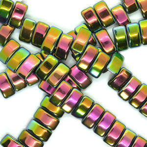 Glass Carrier Beads_9x17mm_Metallic Vitrail_Two Hole_15 Beads_Czech Glass Beads_Green Rainbow