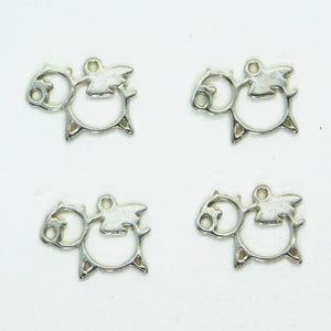 Flying PIG Charm_STERLING SILVER_12x9mm_Openwork_Farm_When Pigs Fly_Pendant