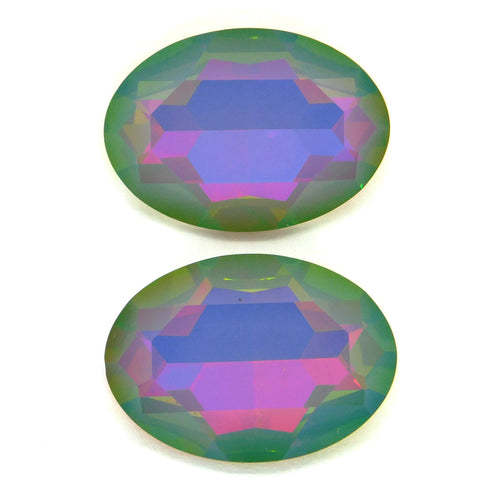 30x22mm Swarovski Fancy Oval Stone_#4127_White Opal Medium Vitrail