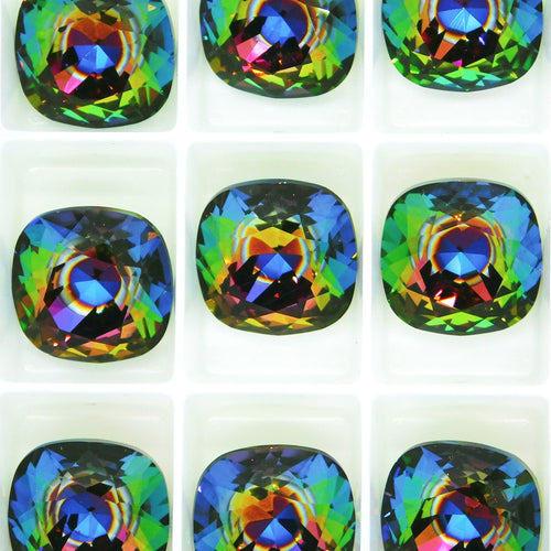 1) Swarovski #4470 Fancy Square Stone_12mm_Nova_New Color_Aftermarket Coating_Swarovski Crystal_Cabochon_