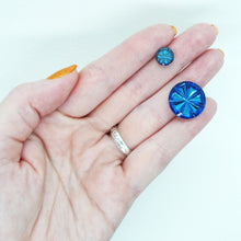 9mm or 18mm Glass Pinwheel Cabochons_Helio Blue_Round Cab_German Glass_Imitation Stone_Jewelry Design_Beadweaving