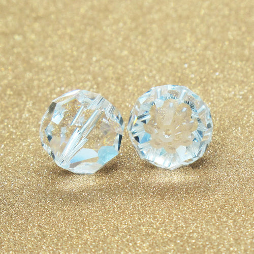 14mm Vintage Swarovski Rounds_Crystal Clear_1980s_Crystal Clear Beads_Bridal Jewelry Design_Something Old_