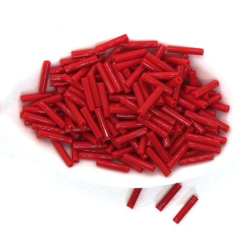 9mm Japanese Bugle Beads_Opaque Medium Red_Toho 45A