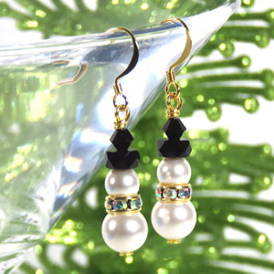 Snowman Earring KIT_Swarovski Crystal Pearls_Crystal AB Scarf_Gold and Pearl_Frosty the Snowman_Christmas Earrings