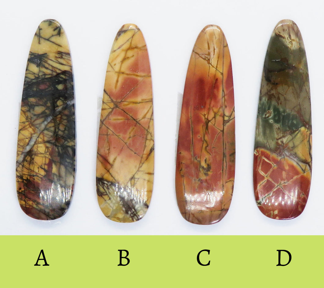 54X16mm Red Creek Jasper Long Teardrop Cabs