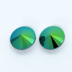 14mm Swarovski Rivoli_Scarabaeus Green_2 Pieces