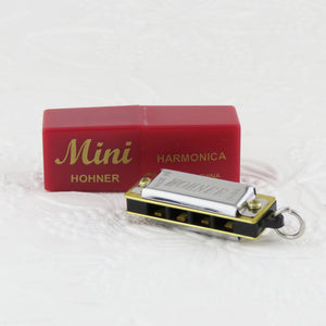 "1-3/8"" Mini Harmonica Pendant_Working Instrument Charm_Key of C Major_Miniature Hohner Harmonica_18"" Doll Instrument_Jewelry Design"