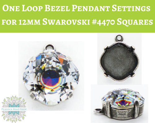 Antiqued Silver One Loop Bezel Pendant Setting for Swarovski #4470 Square Fancy Stones
