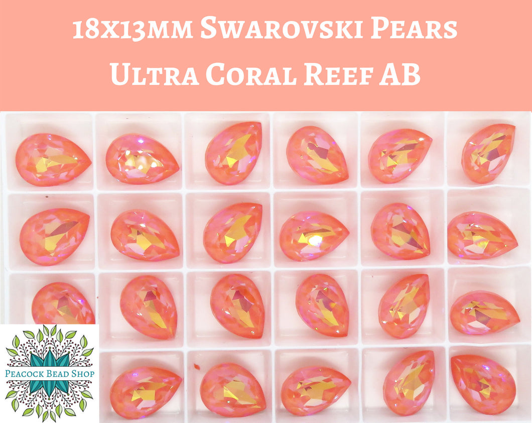 18x13mm Swarovski Pear_Ultra Coral Reef AB_#4320 Fancy Stone