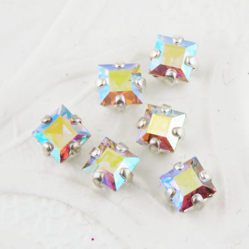 10) 4mm Preciosa Crystal Sew Ons_Crystal AB