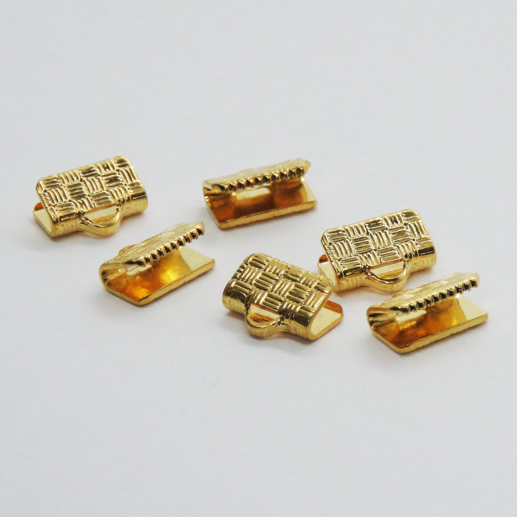 10 pieces_10mm Hatchwork Ribbon Ends_Gold Plated