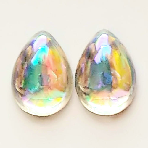 2) 18x13mm Vintage West German Glass Pear Cabochons_Crystal AB_Gold Foil Back