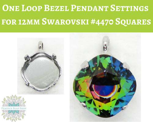 Rhodium Plate One Loop Bezel Pendant Setting for Swarovski #4470 Square Fancy Stones