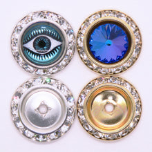 4 pieces_20mm Preciosa Crystal Rhinestone Rondelle Shrag Surround Settings for 13.5mm Cabs_Silver Plate_Gold Plate