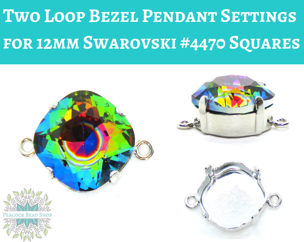 Rhodium Plate Two Loop Bezel Pendant Setting for Swarovski #4470 Square Fancy Stones