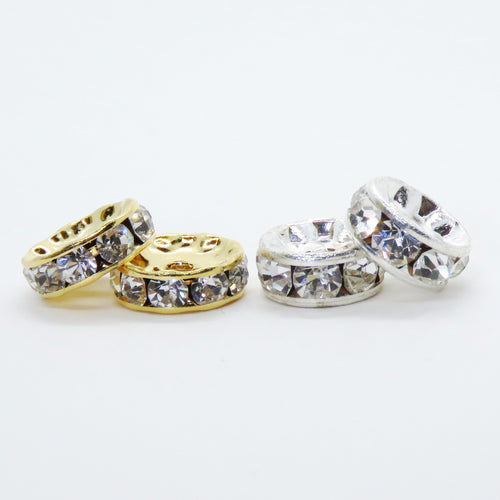 10 pieces_*10mm Preciosa Crystal Rhinestone Rondelle Spacers_Silver Plate_Gold Plate_Crystal Clear