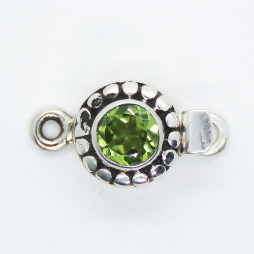 10x19mm Sterling Silver Peridot Gemstone Box Clasp_Natural Peridot