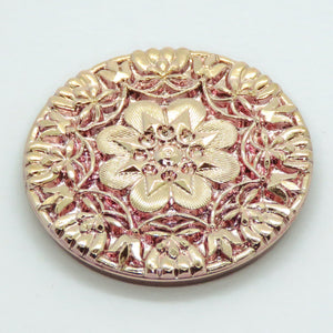 36.5mm Floral Rose Gold Button Top Cabochon