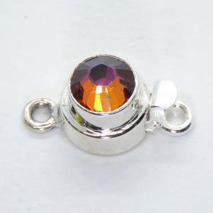 10x19mm Sterling Silver Swarovski Crystal Box Clasp_Volcano_