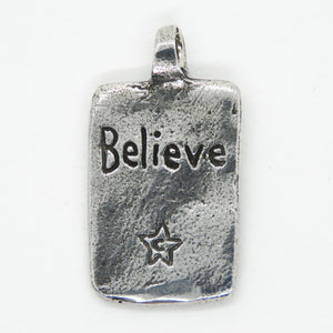 Green Girl Studios Unicorn Pendant_Believe_16x30mm_Antiqued Silver_Fine Pewter