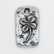 Green Girl Studios Lucky 4 Leaf Clover Pendant_12x22mm_Antiqued Silver_Fine Pewter