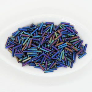 7 grams 6mm Miyuki Slender Bugles #401FR Matte Black AB 1.3x6mm Rainbow Blue