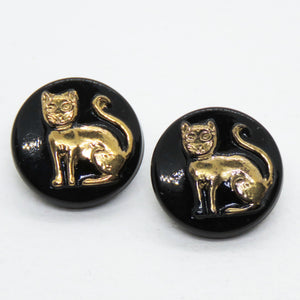 2) 13.5mm Czech Glass Cat Buttons_Antiqued Brass on Glossy Black