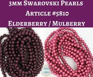 100) 3mm Swarovski Crystal Pearls_Elderberry or Mulberry