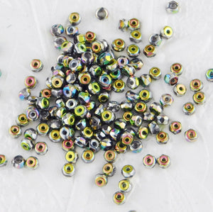 100) 2x3mm Micro Spacers_Full Vitrail_Firepolish Glass Beads