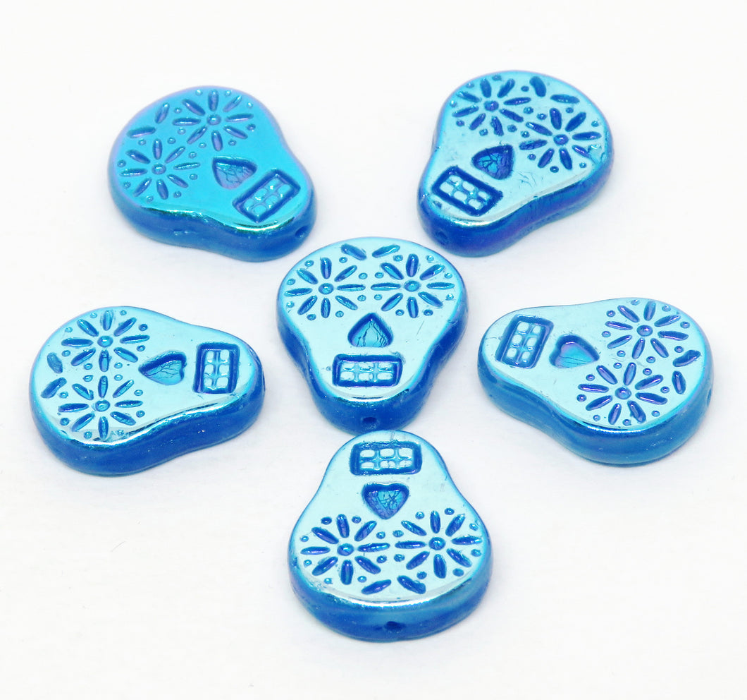 6 Beads_ 19x16mm Sugar Skull Beads_Blue AB_Czech Glass_Dia de los Muertos