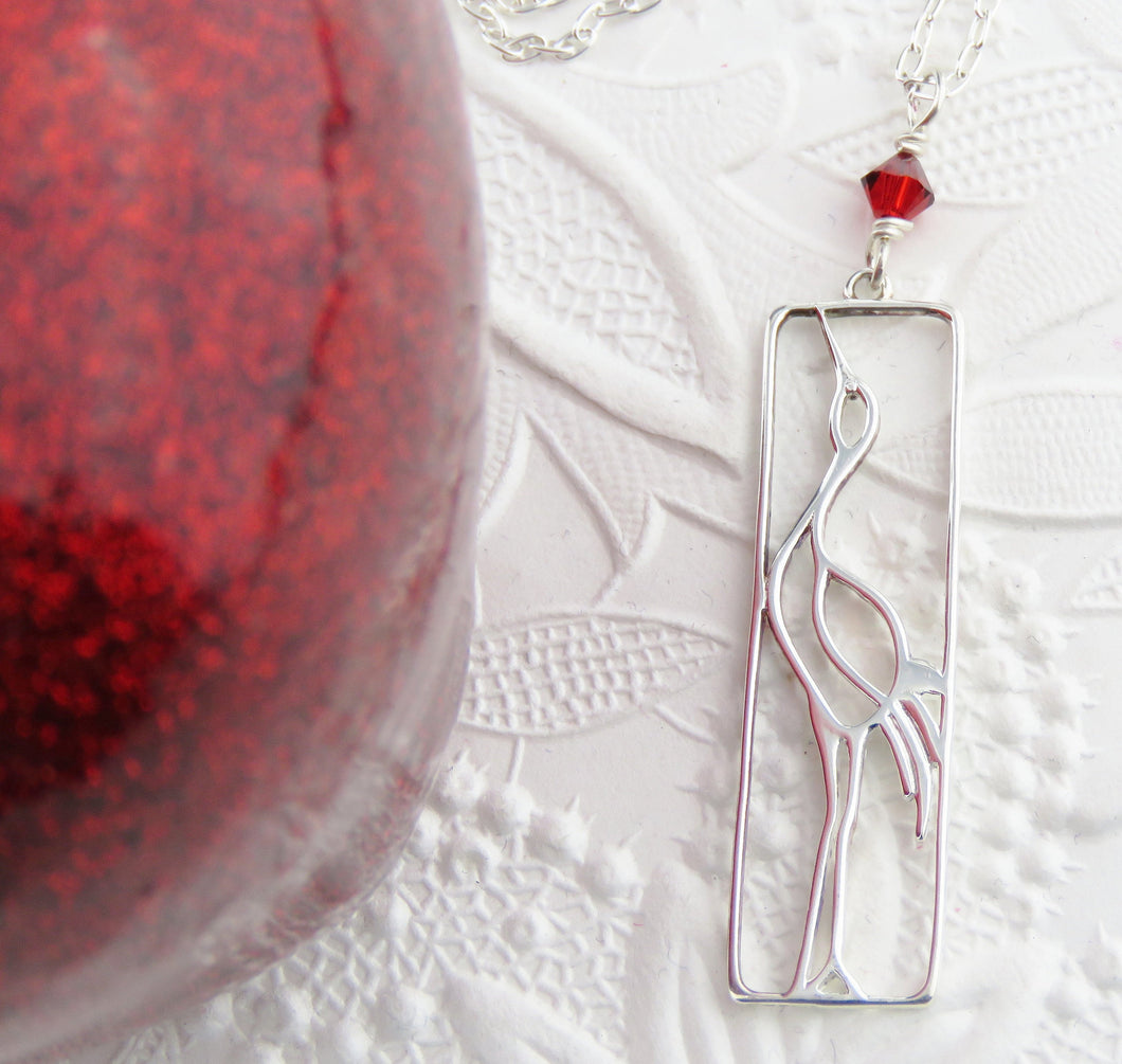 Sterling Silver Crane Necklace with Red Swarovski Detail_18 inches