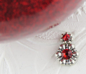 "Double Daisy Swarovski Crystal Bindi_Red and Silver_5/8"" Long"