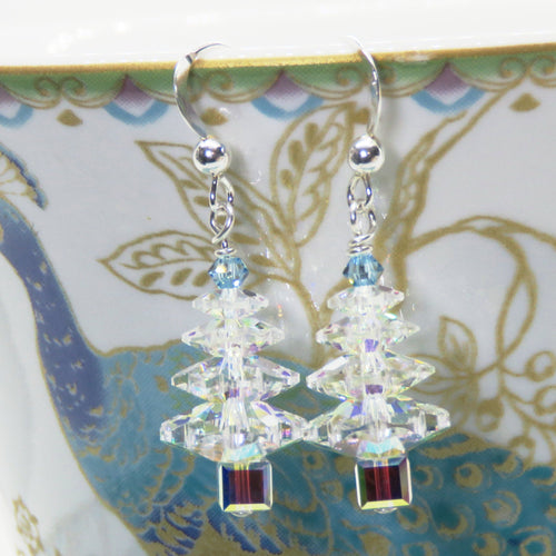 Swarovski Crystal Rainbow Christmas Tree Earrings
