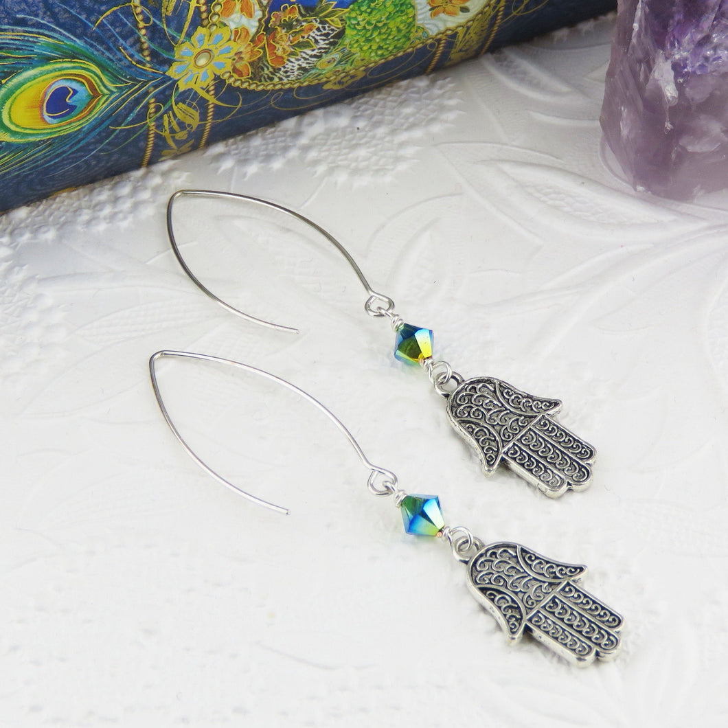 Hand of Fatima Earrings_Silver and Peacock Green Blue