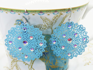 Robins Egg Blue Metal Filigree Earrings with Rainbow Swarovski Detail