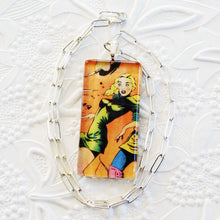 Comic Space Pinup Necklace_Sterling Silver_Hand Crafted Pendant_Swarovski Crystal Detail_**Sparkle for Nayna**