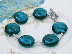 Dark Teal Glass and White Opal Swarovski Crystal Bracelet