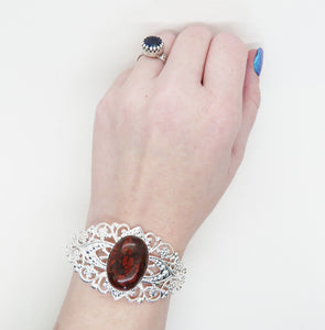 Red Brecciated Jasper Filigree Bracelet