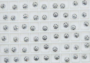6) 4x4mm Swarovski Round Flatback Spikes_Article #2019_Crystal Clear_Volcano_Crystal AB_Nail Art Supply