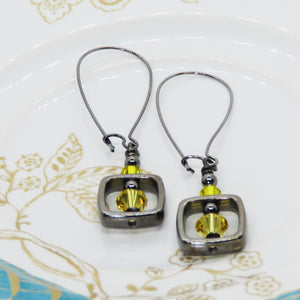 Topaz Yellow and Gunmetal Dangle Earrings