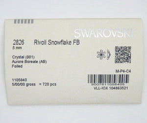 6) Swarovski #2826_5mm Rivoli Snowflake Flatbacks_Nail Art Supply