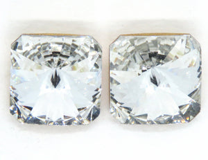 18mm Vintage Swarovski Square_Article 4650_Crystal Clear Gold Foil Back