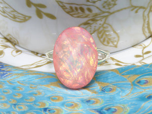Pink Faux Opal Adjustable Ring