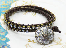 Rhinestone and Leather Double Wrap Bracelet_ **Sparkle for Nayna**