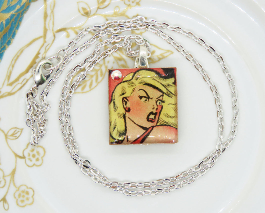 Blonde Comic Pinup Scrabble Tile Necklace_Swarovski Crystal Detail_Ice Resin_**Sparkle for Nayna**