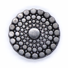 22.5mm Button Top Cabochon Metallic Hematite Circles Czech Glass Cab