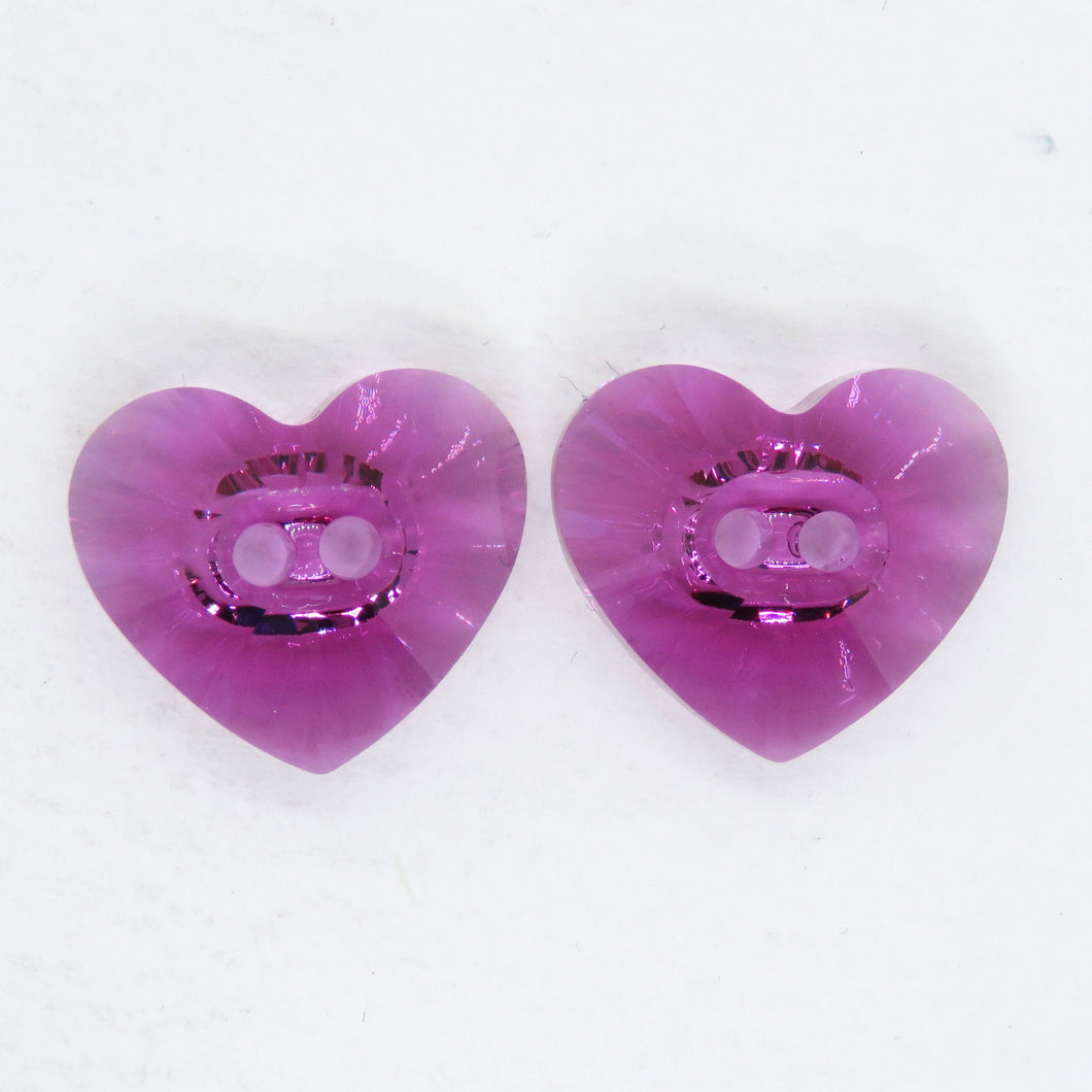 2) Swarovski Crystal Heart Buttons_16x14mm Fuchsia_Article #3023_Discontinued Style