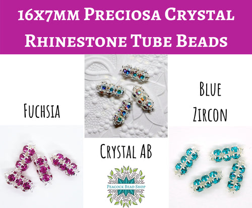 4 beads) 16x7mm Rhinestone Tube Beads_Crystal AB_Fuchsia_Blue Zircon