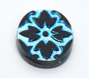 1) 25x18mm Glass Intaglio Cabochon_Jet Scarabe_Peacock Green and Blue on Black